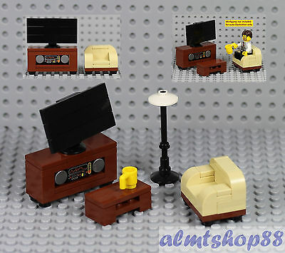 LEGO - TV Stereo Cabinet & Tan Sofa Chair Brown Table Minifigure Home Furniture