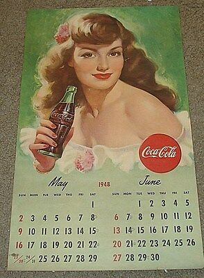 Coca-Cola Calendar May June 1948 Fun Holding A Coke 13 x 22 GREAT COLOR Original