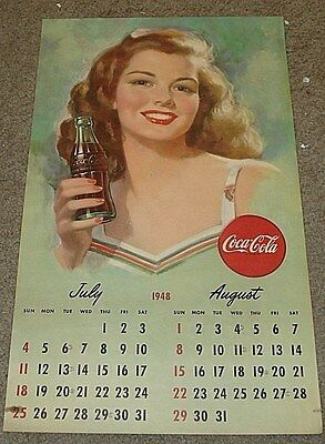 Coca-Cola Calendar July August 1948 Dark Haired Beauty Holding a Coke 13 x 22