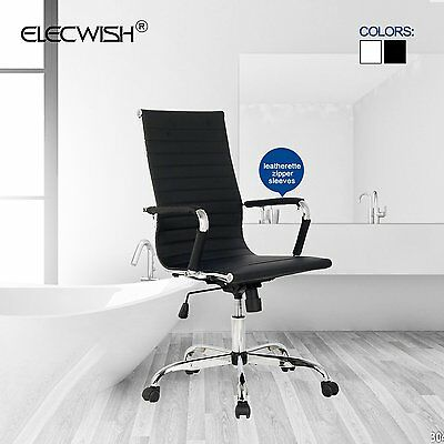 Modern High Back Ergonomic Office Chair PU Leather Executive Computer Desk Black