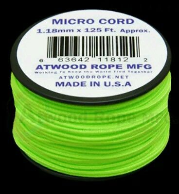 Neon Green MS18  1.18mm x 125ft. Micro Cord Paracord Made in the USA