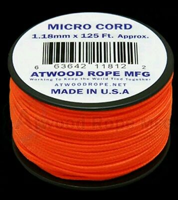 Neon Orange MS17  1.18mm x 125ft. Micro Cord Paracord Made in the USA