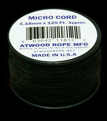 Black MS01  1.18mm x 125ft. Micro Cord Paracord Made in the USA