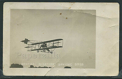 Very Rare NE Ewing RPPC c1911 SAVIDGE BROTHERS CENTRAL AVIATORS BI-PLANE Crashed