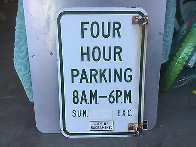 VINTAGE CITY OF SACRAMENTO CALIFORNIA 4 HOUR parking sign DOUBLE SIDED porcelain