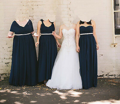 Lanting Bride Floor-length Convertible Bridesmaid Dress Size Navy 18W