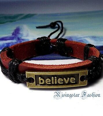"Men's ""BELIEVE"" New Age Surfer Biker Hip Character Leather Bracelet Wristband"