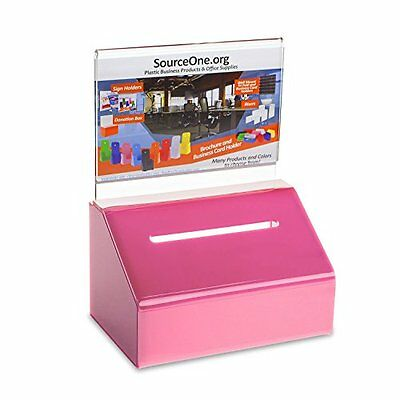 Heavy Duty Donation Ballot Box with Lock and Sign Holder 1 Pack Pink