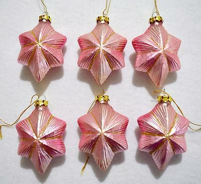 "Lot Of 6  Vintage 4""  Pink & Gold Glass Star Christmas Ornaments"