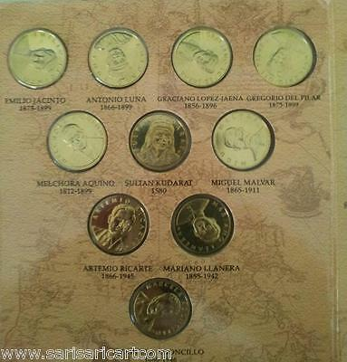 1998 Philippines National Heroes Commemorative 10 UNC Coin Collection Set Lot
