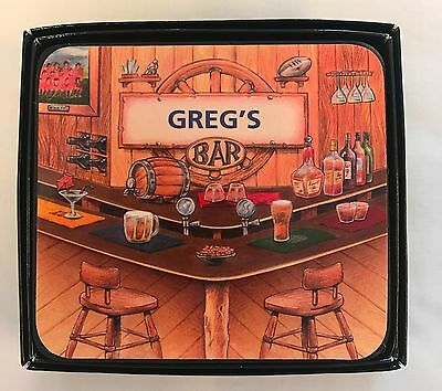 Greg's Bar Name Set Of 6 Cork Backed Coasters