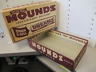 MOUNDS Peter Paul DREAMS 1950s vintage candy bar box store display chocolate