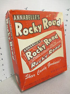 ROCKY ROAD Annabelle's milk chocolate candy bar store display box 1950s