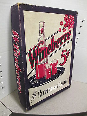 WINEBERRE 1940s candy bar display box Hollywood French wine bottle glass