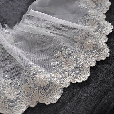 1yd Embroidered Cotton Lace Trim Bridal Wedding Dress Fabric Craft Sewing 11.5cm