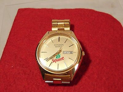 Citizen Quartz Mens Watch Vintage Advertising Squirt Soda On Face (Collectible)