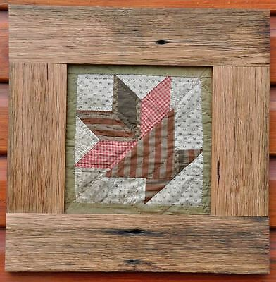 "1860's CHARMING FRAMED PRIMITIVE RUSTIC FLOWER POT ANTIQUE QUILT BLOCK: 17"" x 17"
