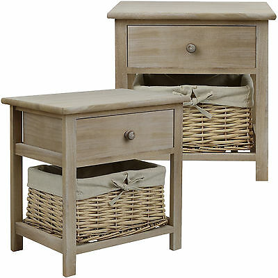 Hartleys Pair Of Brown Shabby Chic Bedside Cabinet/table Wicker Storage Bedroom