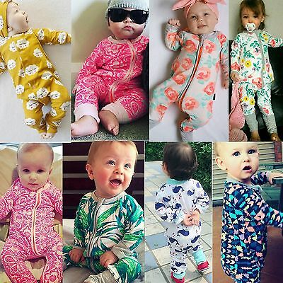 Newborn Baby Boy Girl Long Sleeve Cotton Romper Jumpsuit Bodysuit Clothes Outfit