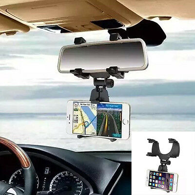 Car Rearview Mirror Mount Holder Stand Cradle Bracket For Cell Mobile Phone GPS