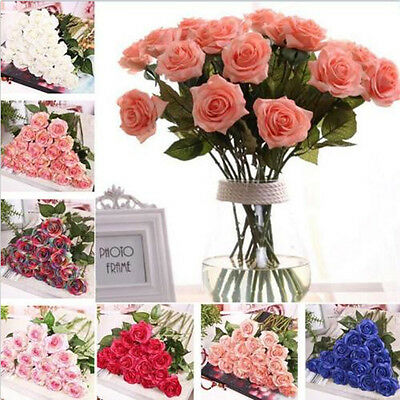 10Pcs Rose Fake Artificial Silk Flower Wedding Party Bridal Bouquet Home Decor