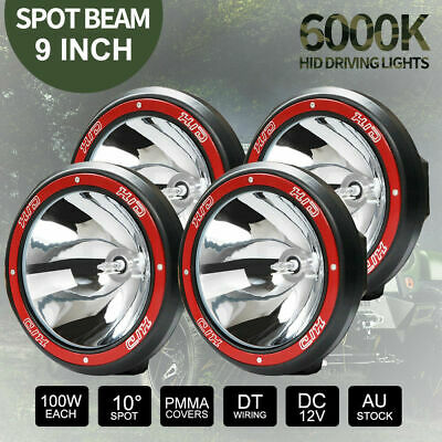 "4x 100W 9"" inch HID Spot Driving Lights Xenon Work Off Road 4WD 4x4 Red 12V Kit"