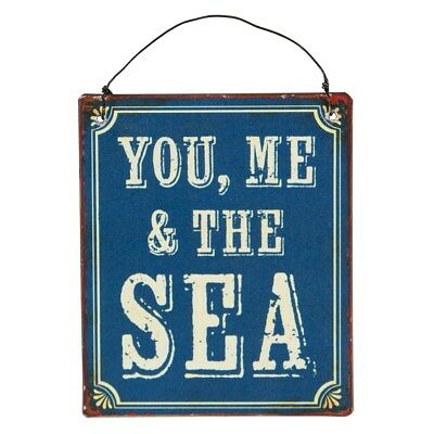 Retro Vintage You Me And The Sea Wall Blue Hanging Metal Sign Plaque Nautical