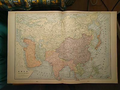 "ASIA Map 1902 Antique Original Crams 22.25""x14.5"" Vintage China Korea MAPZ115"