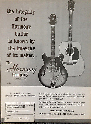 Harmony Guitars. Chicago. - 1 Page Advert 1966 Billboard World Of Country Music