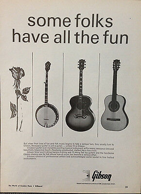 Gibson Instruments, Guitar - 1 Page Advert 1966 Billboard World Of Country Music