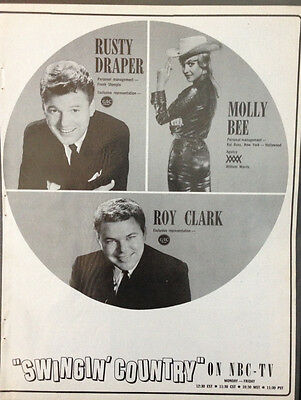 Rusty Draper, Molly Bee, Roy Clark Advert 1966 Billboard World Of Country Music