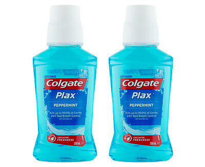 2 x Colgate Plax Mouthwash Peppermint 250mL