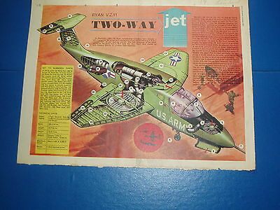Eagle Cutaway Drawing 3/10/1963  Ryan V.z.11 Two Way Jet  V.t.o.l. Vgc