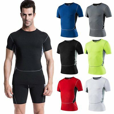Boy Mens Compression Under Base Layer Sports Gear Wear Athletic Shirt Tight Tops