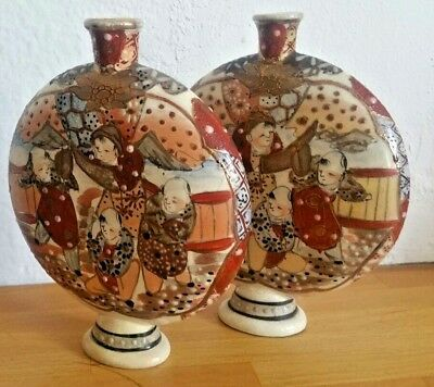 Pair Of Old Chinese Ceramic Handpainted Moon  Vases