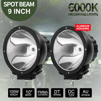 Pair 100W 9inch HID Driving Lights Off Road Spotlights 12V Aluminuim Housing