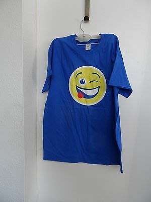 Pepsi Smiley Face Wink Tongue Out  Emoji Size L T-Shirt Blue 100% Cotton NWOT