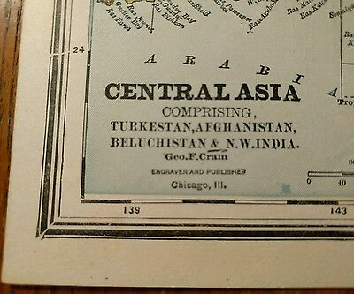 "1888 CENTRAL ASIA Map Antique Original Crams 10.75x13.50"" Vintage Old MAPZ115"