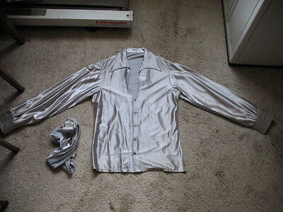 Vintage 1970s Daber Silver Satin Shirt With Scarf / Tie Size L Never Worn