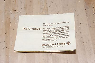 Vintage Ray-Ban Sunglasses by Bausch & Lomb Registration Papers/ Warranty Card