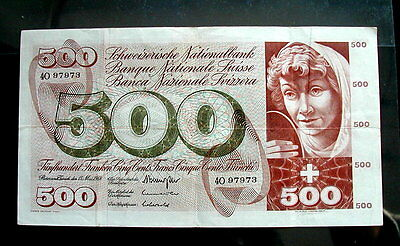 1965 SWITZERLAND rare LARGE Banknote 500 Francs VF+ high quality