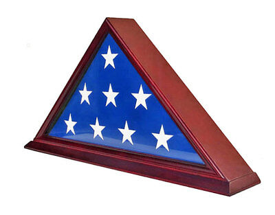 High Quality Memorial Flag Display Case for 5'X9.5' Folded, Solid wood-FC06-CH