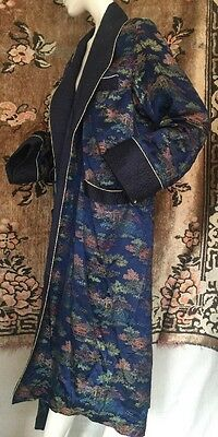 Vintage 1940s Colorful Pagoda Brocade Blue Robe Quilted Smoking Jacket Playboy