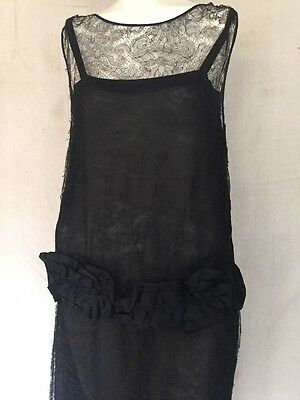 1920s Floral Chantilly Lace Evening Dress French Black Silk Ribbon Flapper Sheer