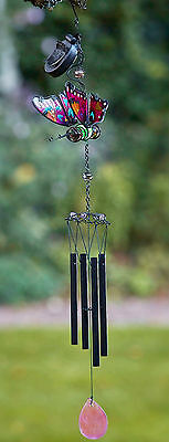Butterfly Windchime Hanging Garden Wind Chime Colour Changing Ornament LED Solar