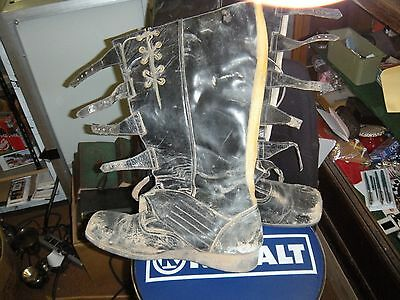 antique,vintage,size,10,11,trials,street,dirt,leather,riding boots,yellow,black,