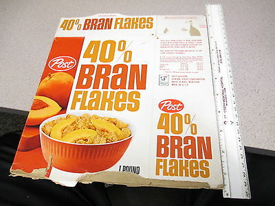 cereal box POST 1960s 40% BRAN FLAKES fruit slices peaches