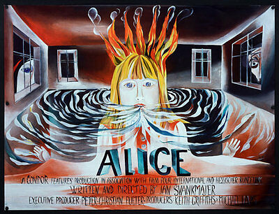 Alice Jan Svankmajer original poster for UK release A1 Rare landscape!