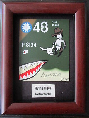 Flying Tigers Nose Art Plate Signed By Tex Hill P-40 Warhawk WW2 Ace Pilot Coa