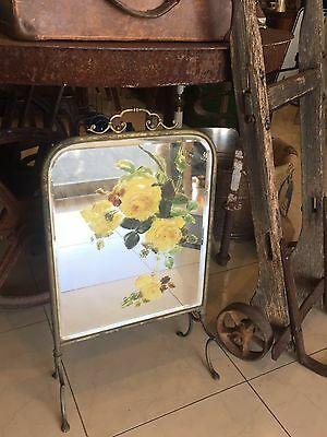 Antique Free Standing Foot Mirror Brass Frame With Pretty Hand Painted Flowers